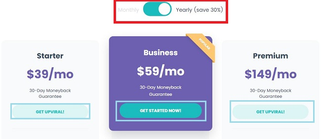 Upviral Yearly Pricing & Plans