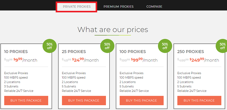 Limeproxies private Proxies Pricing