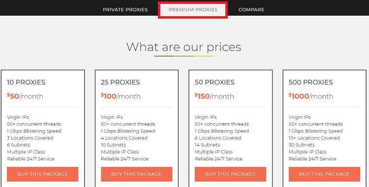 Limeproxies premium Proxies pricing