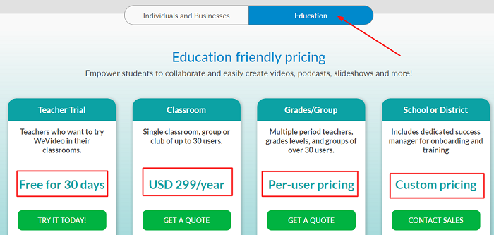 WeVideo Pricing For Education