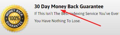 Backlinks Indexer Money back guarantee