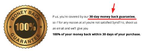 SyndTrio Money Back Guarantee