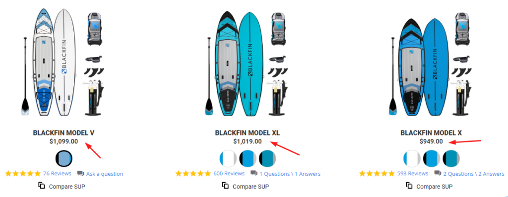 Blackfin Sup Boards Pricing