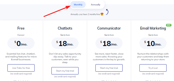 Tidio Monthly Plans Pricing