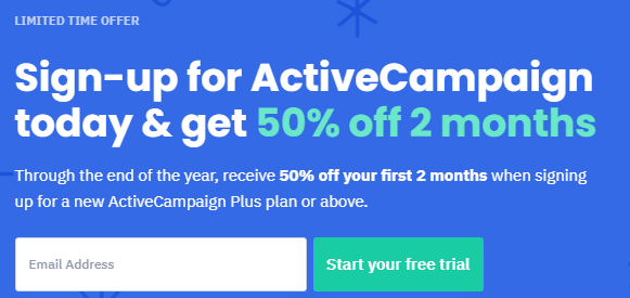 50% off on all ActiveCampaign plans for First 2 months